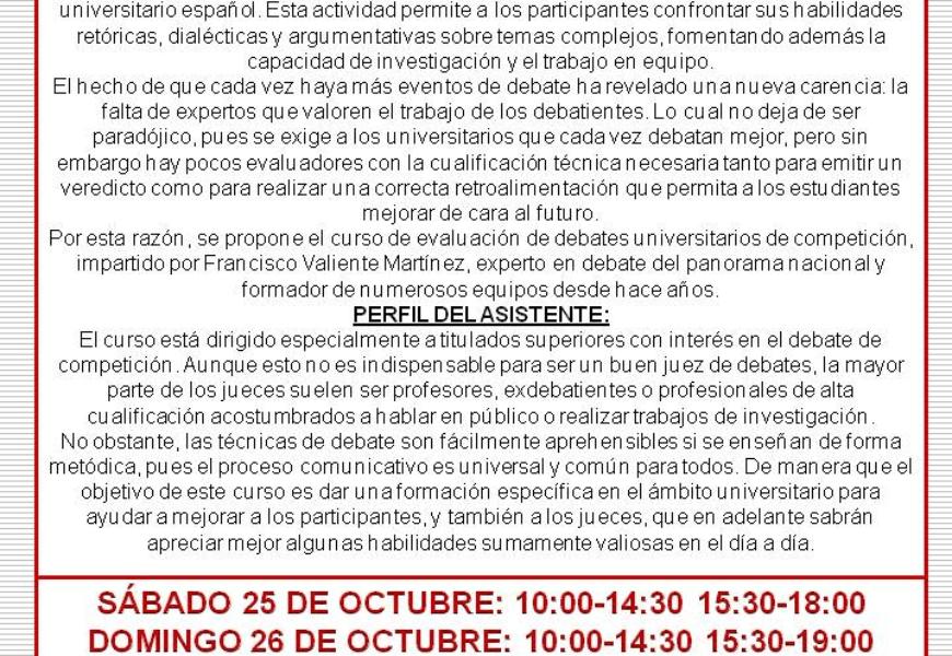 El CM Isabel de España organiza un curso de evaluación de debates universitarios de competición
